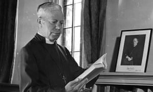 George Bell (1883-1958), bishop of Chichester, in his study at Chichester Palace