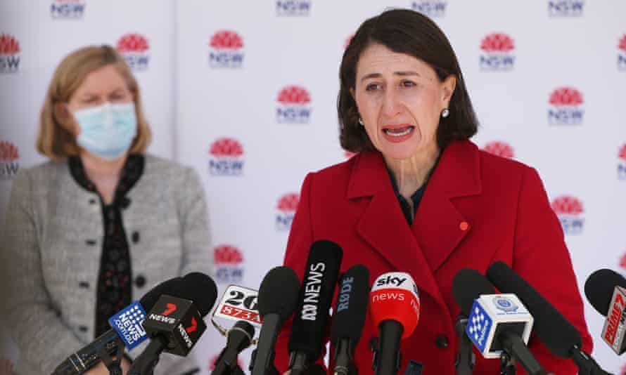 NSW premier Gladys Berejiklian speaks to the media at a Covid briefing during Sydney's lockdown