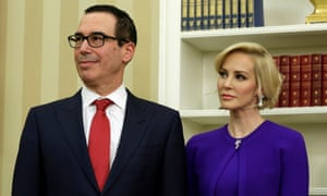 Mnuchin with his wife Louise Linton in the Oval Office.
