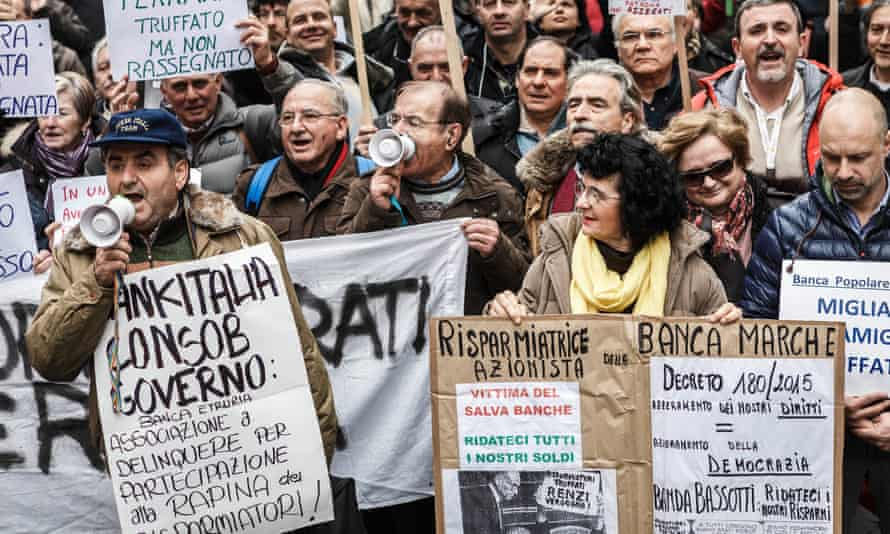 Demonstrators protesting over the government's bank bailout proposals in Rome