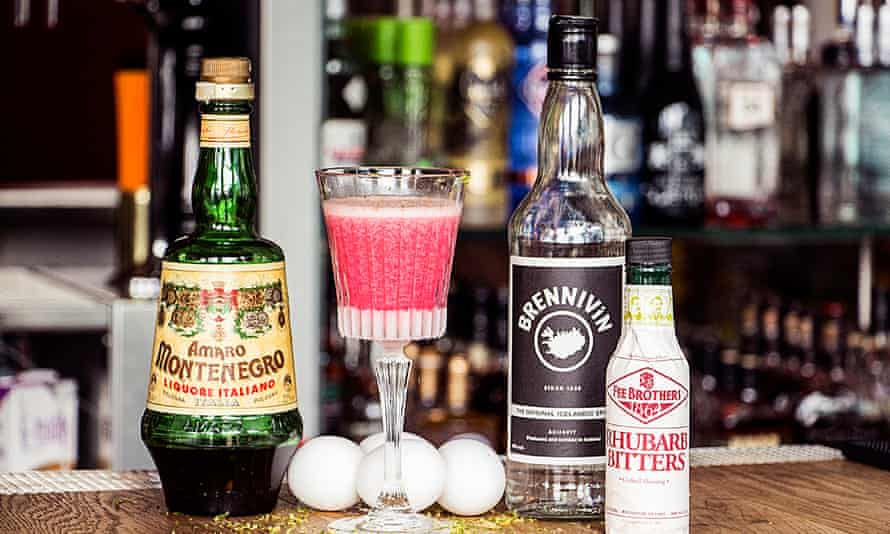 In the pink … a brennivín cocktails with Italian amaro and rhubarb bitters.