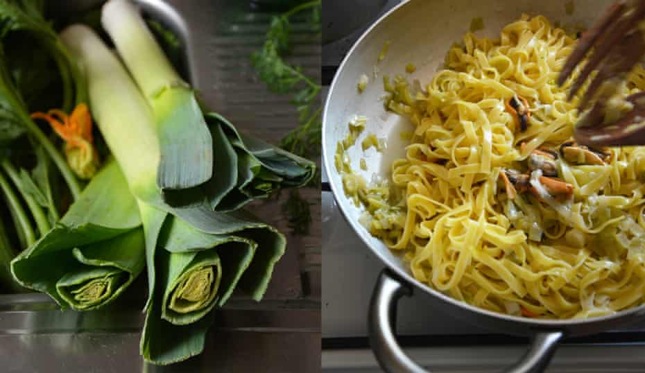 Leek tagliatelle with mussels: 'The leeks are chopped and sweated in butter and olive oil until so soft and wilted they are almost a puree'.