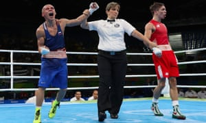 Vladimir Nikitin celebrates his victory over Michael Conlan at the Rio Olympic Games.