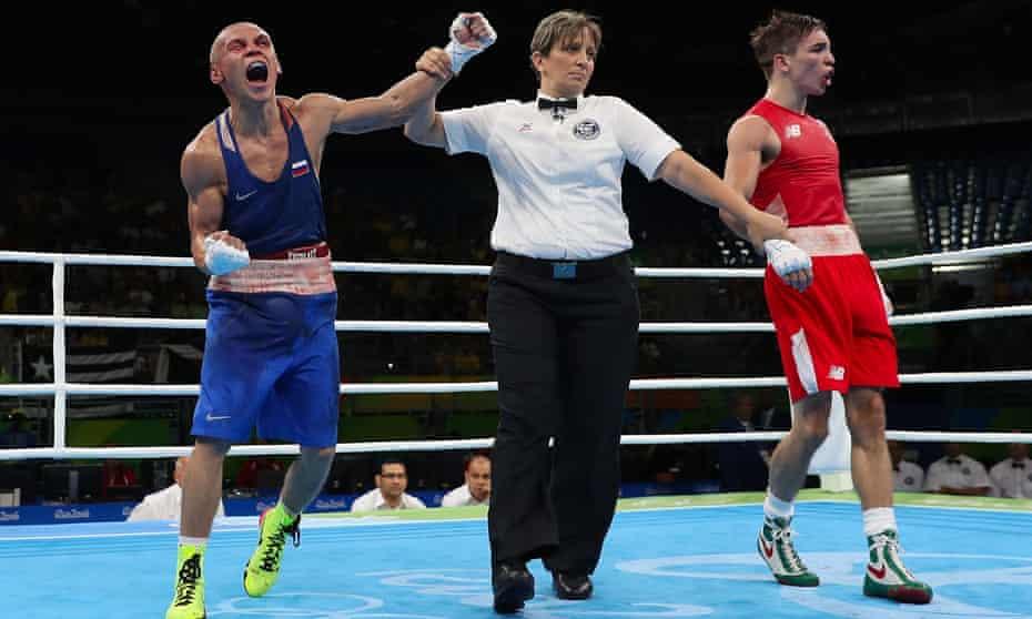Vladimir Nikitin celebrates his victory over Michael Conlan at the Rio Olympic Games.