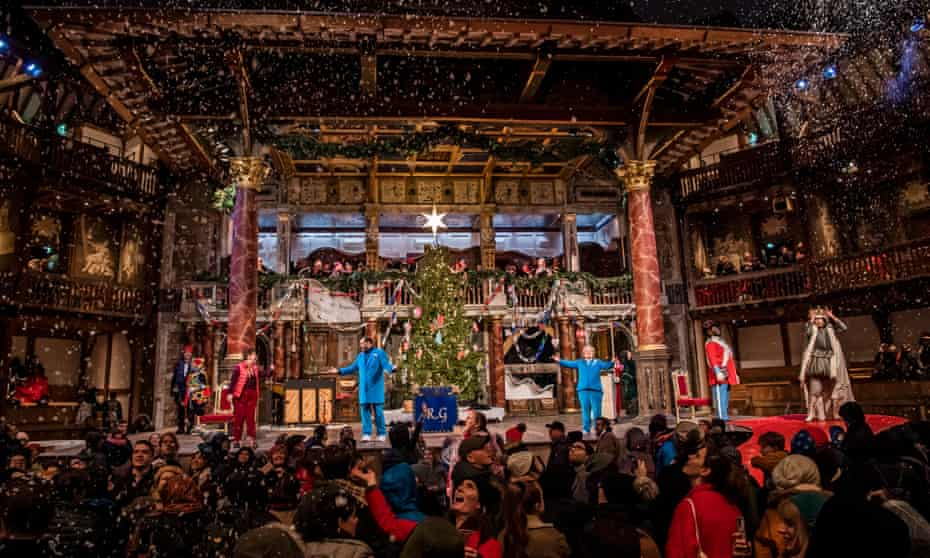 Sandi Toksvig, centre right, in Christmas at the (Snow) Globe at Shakespeare's Globe.