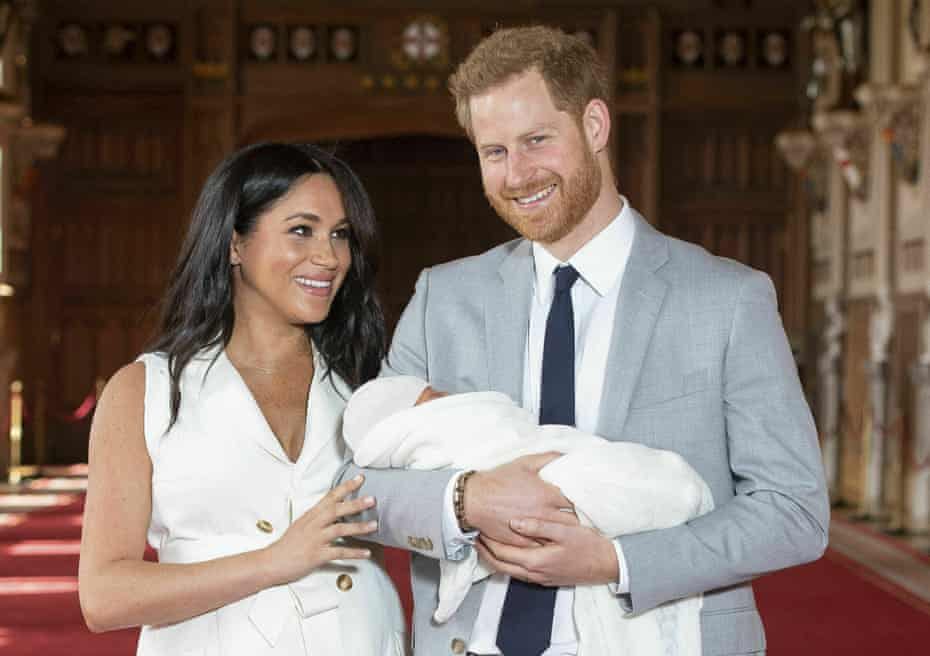 Prince Harry and Meghan, Duchess of Sussex, during a photocall with their newborn son, 8 May 2019