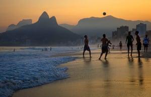 Beach football on Ipanema beach, Rio