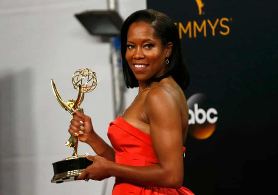 Regina King poses backstage with her award for Outstanding Supporting Actress In A Limited Series Or Movie .
