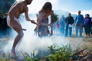 traditional smoking ceremony conducted by Brenton Brown and Craig Everett.