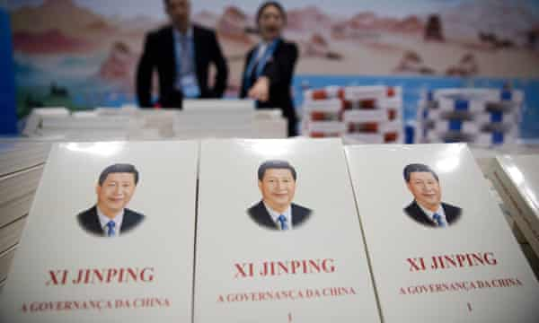 Books on Chinese president Xi Jinping are seen displayed in the media centre for the second Belt and Road Forum.