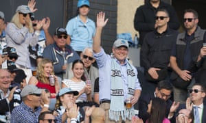 Scott Morrison waves to the crowd during the Round 10 NRL match between the Cronulla Sharks and the Manly Sea Eagles on Sunday.