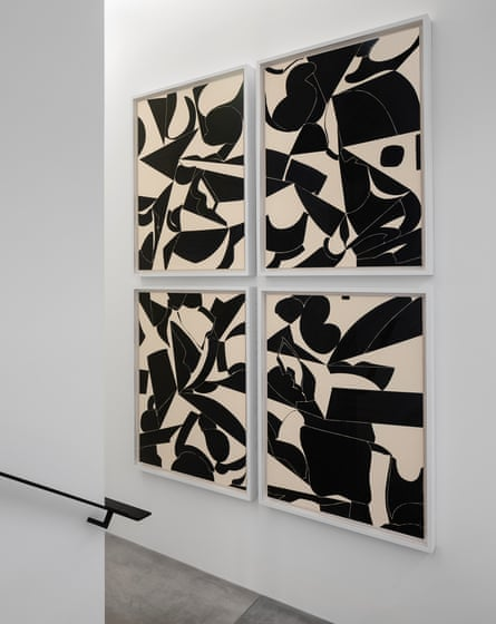 Shawn Kuruneru's untitled abstract painting in Celine's Paris Grenelle store, ink and acrylic on canvas.