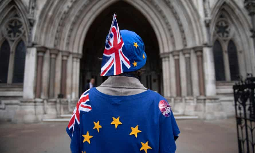 Brexit protesters outside the High Court in London.