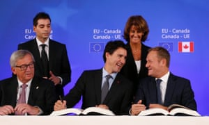 Ceta signing ceremony with Justin Trudeau Jean-Claude Juncker and Donald Tusk