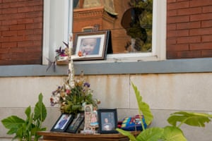 A memorial filled with toys, flowers and photos for Xavier Usanga outside his home in north St Louis.