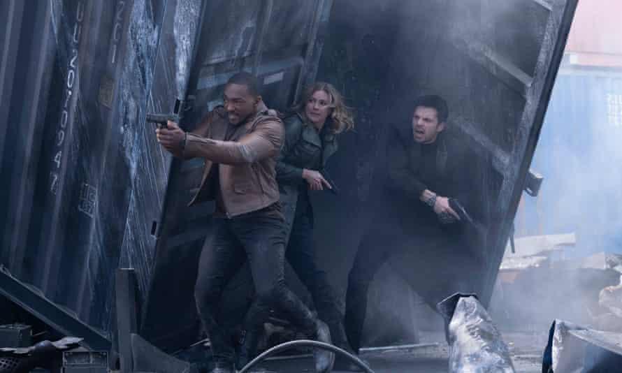 Sam, Sharon and Bucky (Sebastian Stan) fight off every bounty hunter in Madripoor.