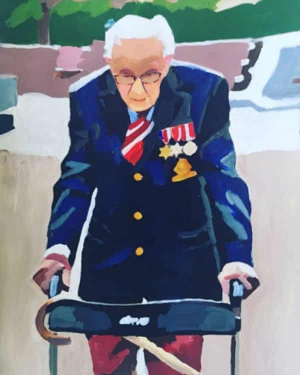 A painting of Capt Sir Tom Moore by George Alexander, 65, Redcar, North Yorkshire.