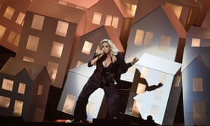 Katy Perry performs at the Brits.