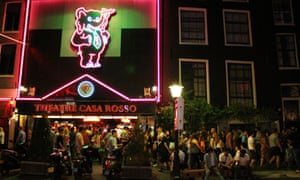 Visitors to Amsterdam's red light district