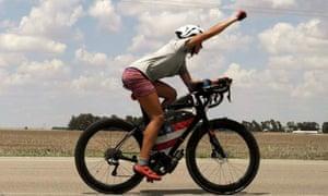 Lael Wilcox on her bike