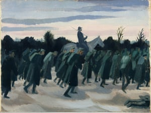 Austrian Prisoners being driven towards the Italian Lines, 1918 by Sydney Carline.