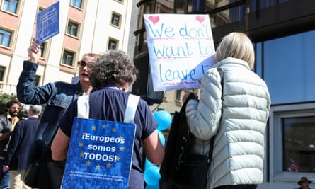 Britons in Spain demonstrate in favour of a second EU referendum in March 2019