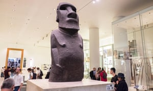 The Hoa Hakananai'a statue from Easter Island on display at the British Museum in London.
