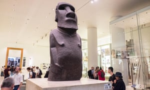 The Hoa Hakananai statue at the entrance to the British Museum's Wellcome gallery.