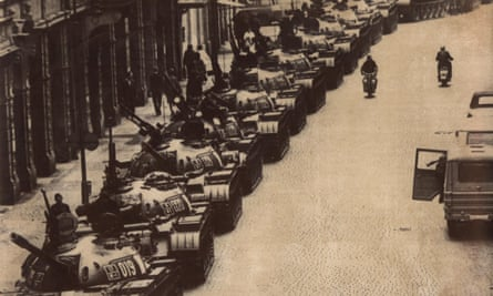 A column of Soviet tanks lined up in a Prague side street near the old town, 28 August, 1968.