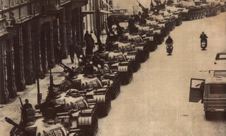 Soviet tanks lined up in a back street in Prague, on 28 August, 1968.
