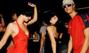 Group of friends dancing in Barcelona
