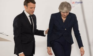 French president Emmanuel Macron and UK prime minister Theresa May during a press conference at Sandhurst.
