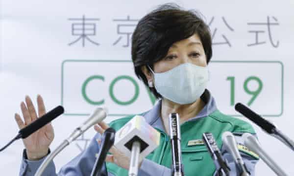 Tokyo's governor, Yuriko Koike, holds a press conference on Friday 22 May.