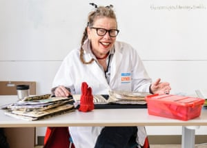 Lynda Barry in her Image Lab classroom at the Wisconsin Institute for Discovery.