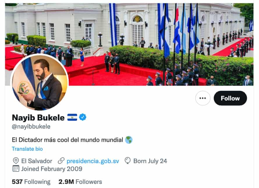 Twitter profile of El Salvador's president, Nayib Bukele. The bio reads: 'The coolest dictator in the world.'