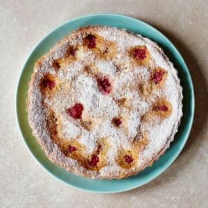Raspberry genoise tart.