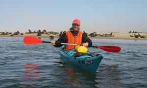 Our contributor with the seals of Walvis Bay.