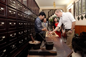 Prince William visits a traditional medicine shop in Hanoi, Vietnam before attending an international wildlife summit