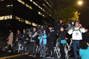 JAPAN-NISSAN-RENUALT-MITSUBISHI-AUTO-GHOSNJournalists wait outside the Tokyo Regional Prosecution Office in Tokyo on November 19, 2018. - Japanese prosecutors were expected to arrest Carlos Ghosn, head of the Renault-Nissan-Mitsubishi alliance, on suspicion of false income reports, local media reported on November 19, 2018. (Photo by Toshifumi KITAMURA / AFP)TOSHIFUMI KITAMURA/AFP/Getty Images