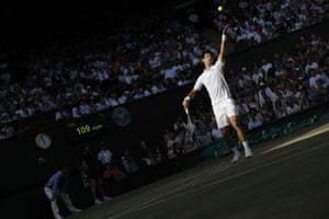 Novak Djokovic serves to Ernests Gulbis.