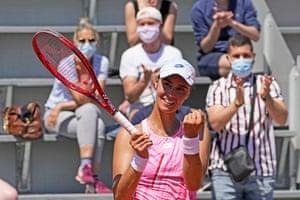 Anhelina Kalinina celebrates as she beats Angelique Kerber.