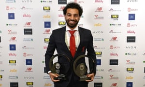 Mohamed Salah with the two Liverpool awards he won at Anfield on Thursday evening.
