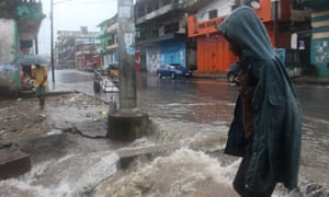 A heavy downpour of rain in downtown Monrovia, Liberia.