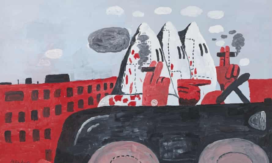 In Riding Around (1969) Philip Guston depicts three Klan members driving and, possibly, plotting.