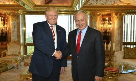 Then presidential candidate Donald Trump shakes hand with Benjamin Netanyahu in New York. The Israeli prime minister is due to meet President Trump in Washington.