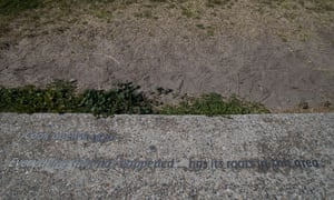 "Writing on the sidewalk near the Captain Cook obelisk at Kurnell on the shore of Botany Bay where he first stepped ashore on 29th April 1770. The Inscription reads ""Cook Obelisk 1870 Everything that has happened...has it roots in this area"""