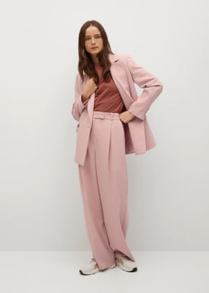 Flowy blazer, £69.99, pleated trousers, £49.99, T-shirt, £15.99, and trainers, £49.99, mango.com