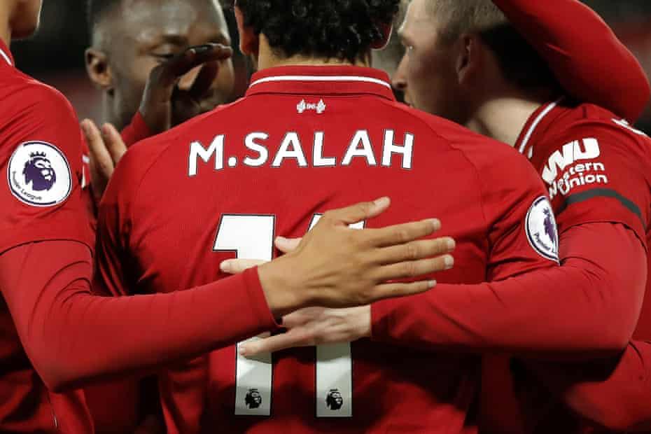 Mo Salah celebrates scoring Liverpool's final goal during their 5-0 win over Huddersfield last week.