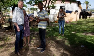 The UN's monitor on extreme poverty, Philip Alston, visits residents of the Jobos, Guayama neighborhood in Puerto Rico on 10 December 2017.