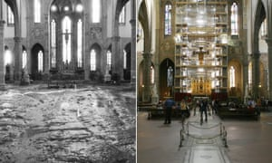 Restoration … the Basilica di Santa Croce on 4 November 1966, left, and as it undergoes restoration in October 2006